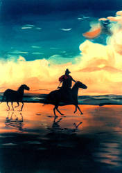 Sunset Horses by phydeau