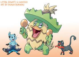 Pokemon Drawz Day 3: Dewott Ludicolo Litten by OgawaBurukku