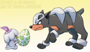Pokemon Drawz Day 4: Litwick and Houndour by OgawaBurukku