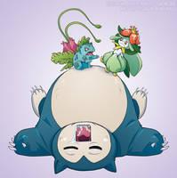 Pokemon Drawz Day 5: Ivysaur Lilligant and Snorlax by OgawaBurukku