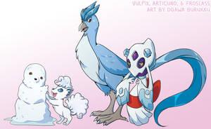 Pokemon Drawz Day 10: Vulpix, Articuno, Froslass by OgawaBurukku