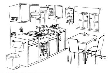 Inktober 2018*11 - small kitchen by Der-Winterfuchs