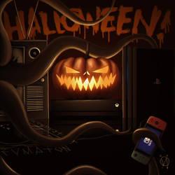 A pumpkin gamer for Halloween! by osvaldoVSARTS