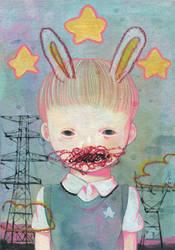 Pwer line and rabbit by hikarishimoda