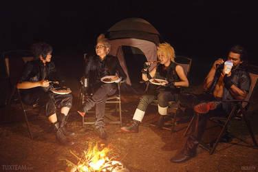 Final Fantasy XV: Camping Chocobros by behindinfinity