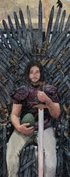 My Jon Snow Aegon Targaryen on the throne swords by GiovanniNeve