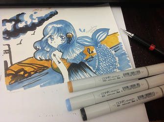 3 Copic Drawing challenge - Mermaid by angiewaiwai