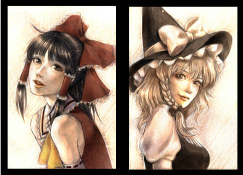 marisa and reimu by jurithedreamer