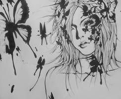Uruha with Blue butterflies by Alzheimer13