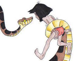 Kaa squeezes Mowgli by alan-smithee-90