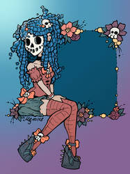 Skull Girl Inktober Colored by malicealyce