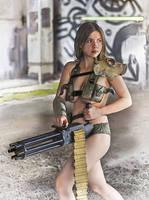 Polina with minigun by ohlopkov