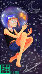 A girl In the space... with a Golden Fish by L09266