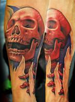 Red Skull Tattoo by joshing88