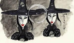 Inktober - The Moon Sisters by Madame-Kikue