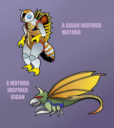 Gigan Mothra Hybrids by justinhubbell