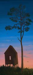 Sunset house by Deer-Moss