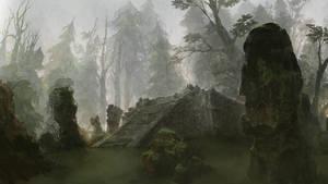 deserted altar in the daybreak forest by dmsdud