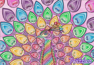 Rainbow Psychedelic Peacock by Faeriegem