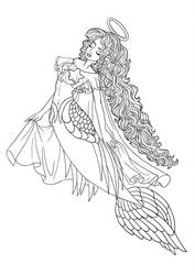 Mermaid of Heaven - Lineart by Paola-Tosca