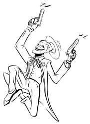 Joker Shooting bw by Bat-Dan