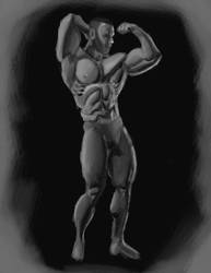 capt American 4 hour speed paint Grey Scale by EZENT