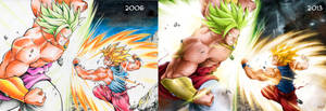 Goku vs Broly - Then and Now - by Crike99