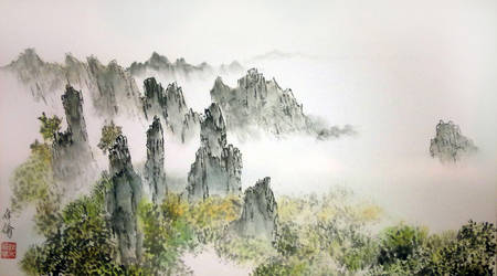 huang shan painting close up by blackbeat