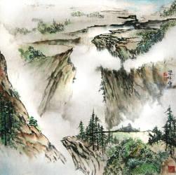 Misty cliffs by blackbeat