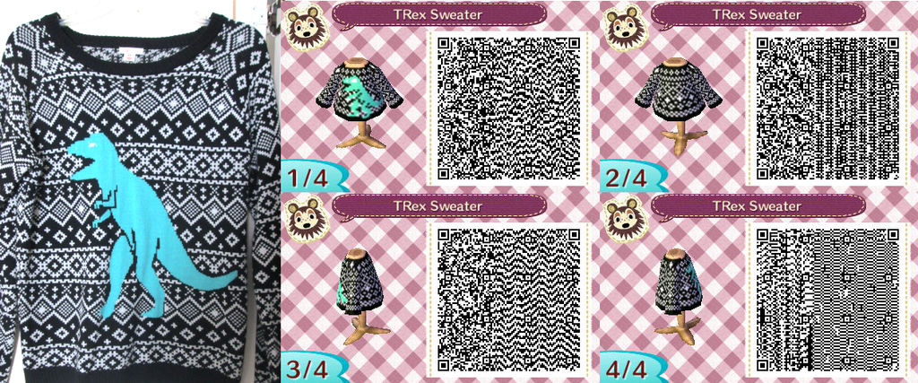 Image of: Acnl Animal Crossing Qr Code Trex Sweater By Vidimus78 Kitchen Wallpaper Idea 2019 Animal Crossing Qr Code Trex Sweater By Vidimus78 On Deviantart