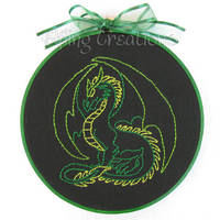 Green and Black Dragon Embroidery by merigreenleaf