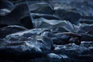 painted body in blue rock by MetamorphosisV