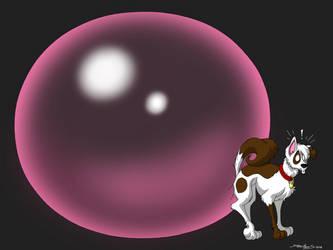 Dog Swallowed Big Wad Of Bubblegum  by DoodleDan86