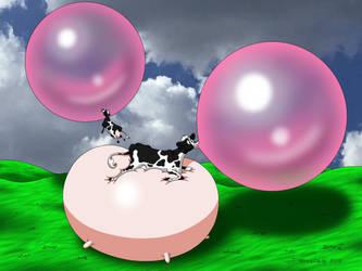 Cows Blowing Bubblegum Bubbles by DoodleDan86