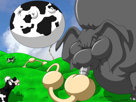 Elephant Blows Up Cow by DoodleDan86