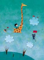 In the sky, a cat, a giraffe by nicolas-gouny-art