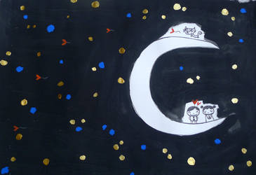 Pierrot, Pierrette and the running cat on the moon by nicolas-gouny-art
