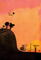 The sun on the hill by nicolas-gouny-art