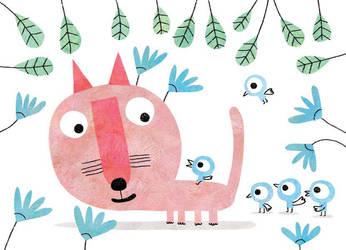 Big pink cat by nicolas-gouny-art
