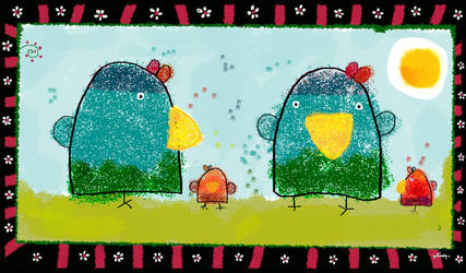 the parrots and the egg sun by nicolas-gouny-art