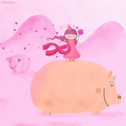 Flowers for piggy by nicolas-gouny-art