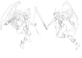 Angel + Demon fight  - lineart by Lairam