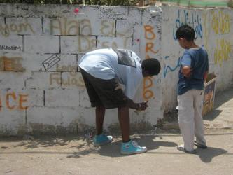 Bil'in graffiti by knockdownginger