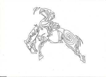 saddle bronc riding, tribal tattoo design by countrygirllover