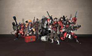 Robotic Mercenaries Group Shot - RED by PrincessBloodyMary