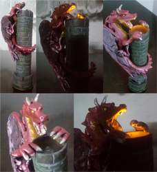 Red Dragon Tower Candle by HeronPereira
