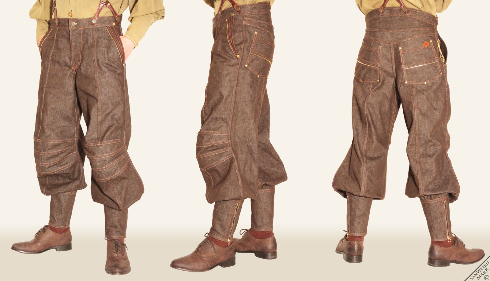 Brown Denim Hybrid Jacks by Marcusstratus