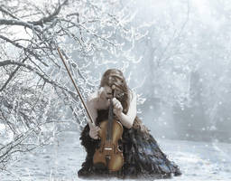 Violin in winter by Laura-Graph