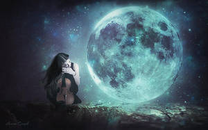 Violin With The Moon by Laura-Graph