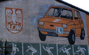 Fiat 126 on a wall by Abrimaal